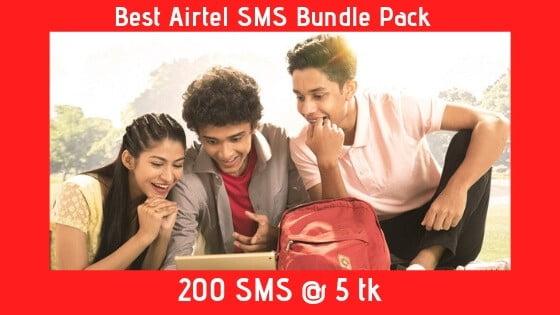 Airtel SMS Bundle Pack 200 SMS @ 5 tk