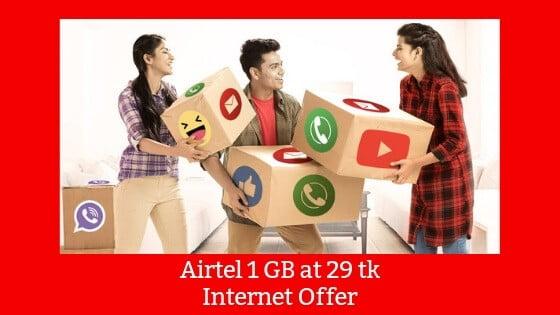 Airtel 1 GB at 29 tk Data Offer