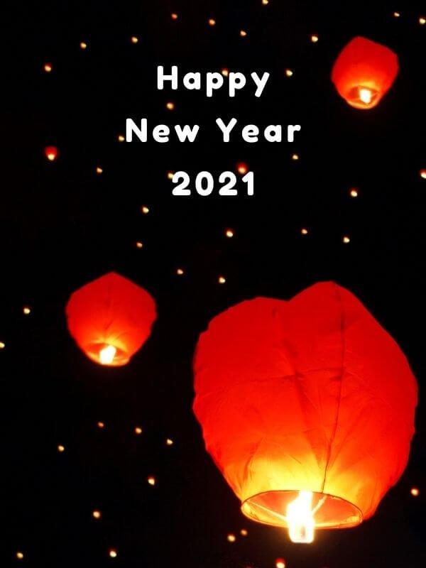 Happy New Year 2021 with sky lantern