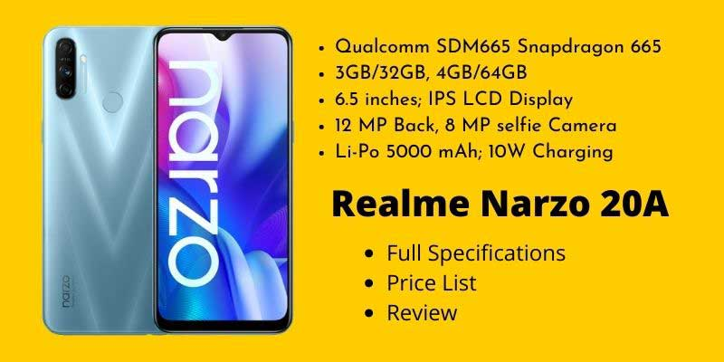 Realme Narzo 20A Full Specifications