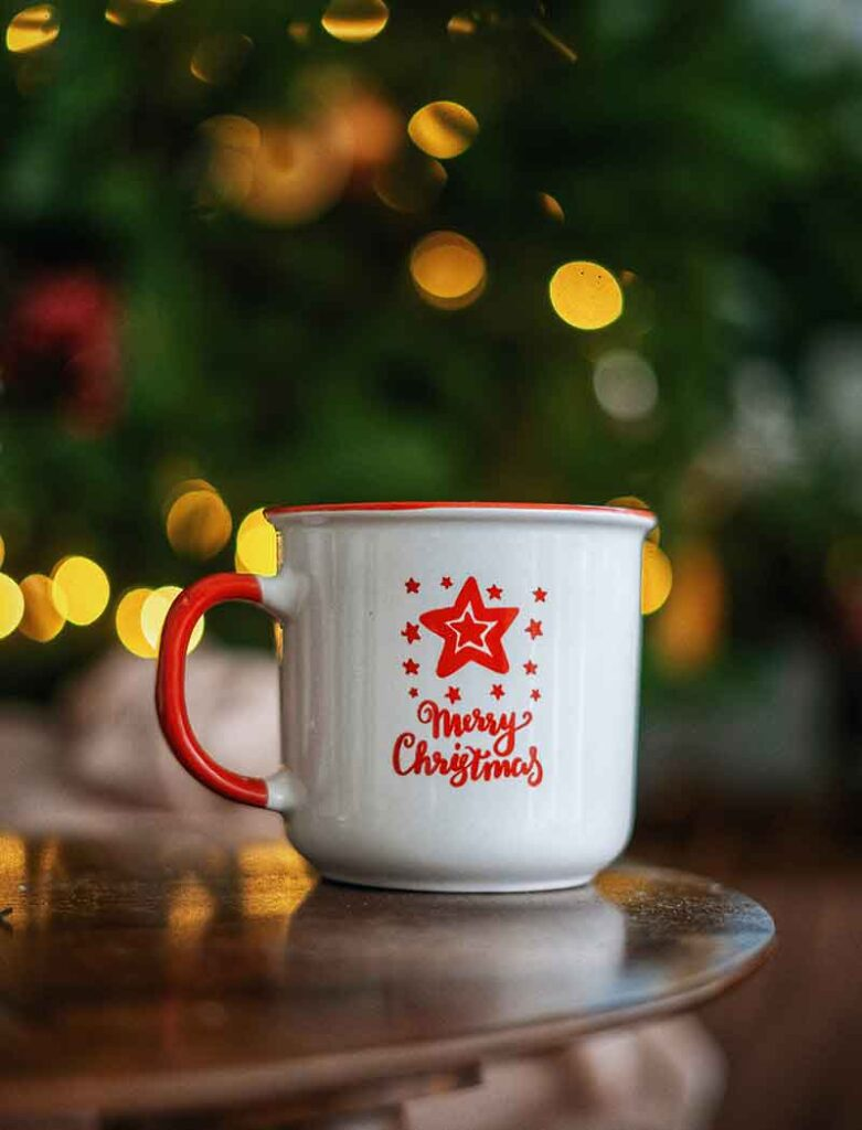 Merry Christmas Wish Text with a Cup