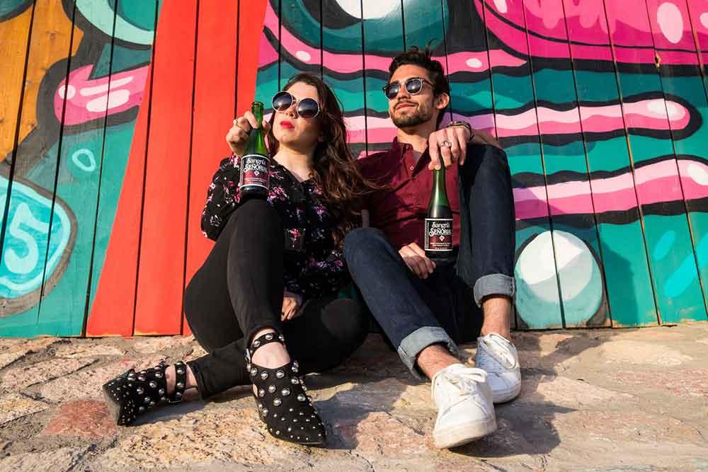 Boyfriend and girlfriend drinking