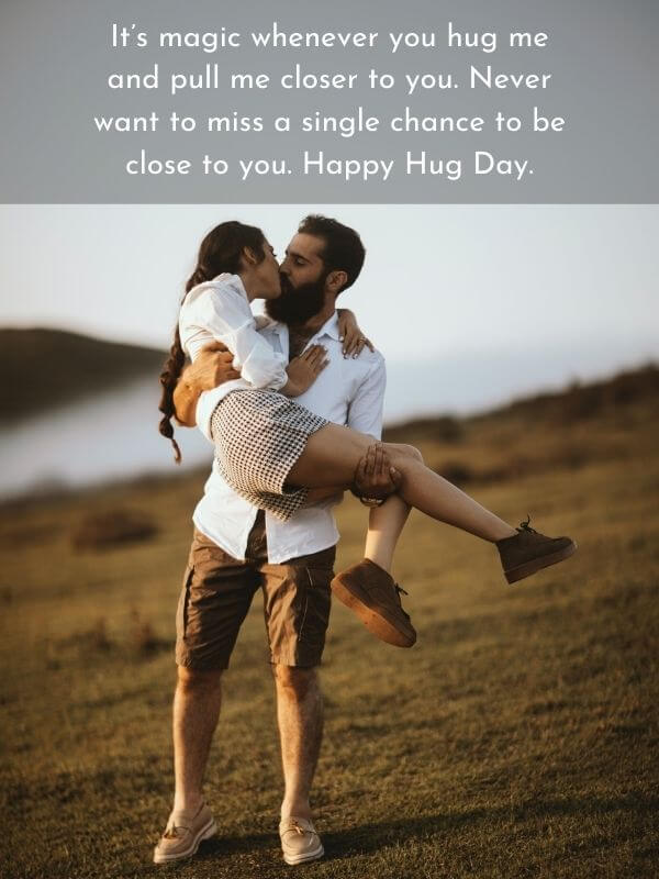 Romantic Hug Day Quote for Sweetie